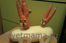Поделка из моркови и кабачка «Зайцы на машине»